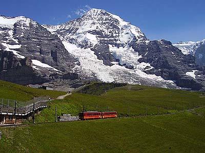 ユングフラウヨッホへ クライネシャイデックからは赤い電車に乗り換えて、... 日記でスイス旅行−